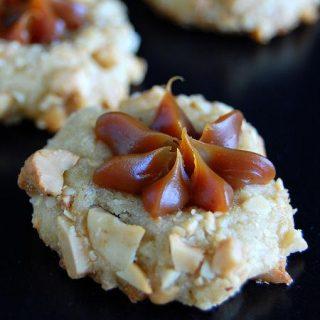 Dulce de Leche Cashew Thumbprint Cookies