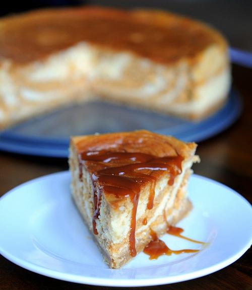 Pumpkin Salted Caramel Swirl Cheesecake