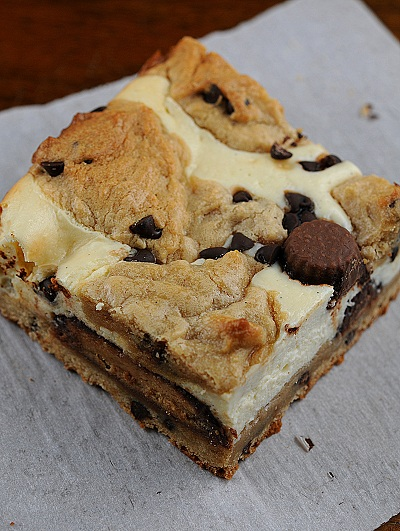 ... Butter Cup- Peanut Butter Chocolate Chip Cookie Dough Cheesecake Bars