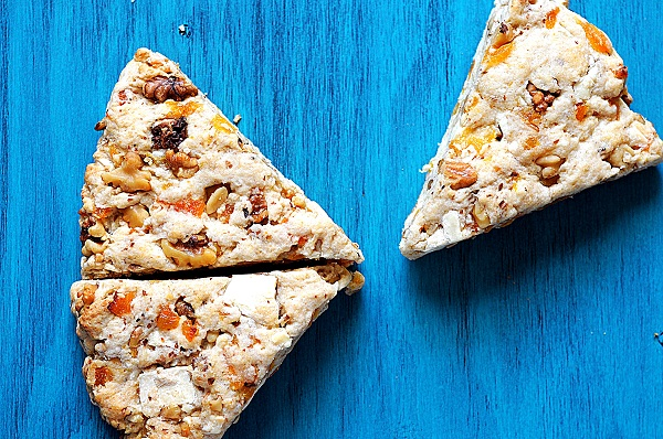 Apricot, White Chocolate and Toasted Walnut Scones