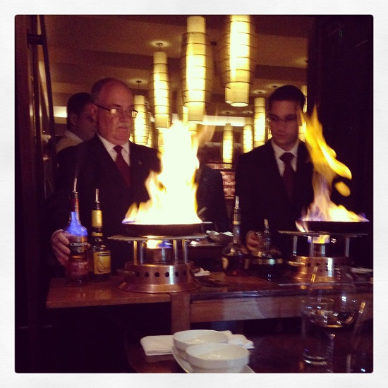 Side by side flambe action.