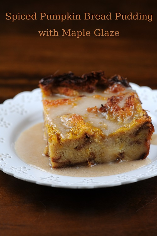 pumpkin bread pudding with maple glaze ingredients for the bread ...