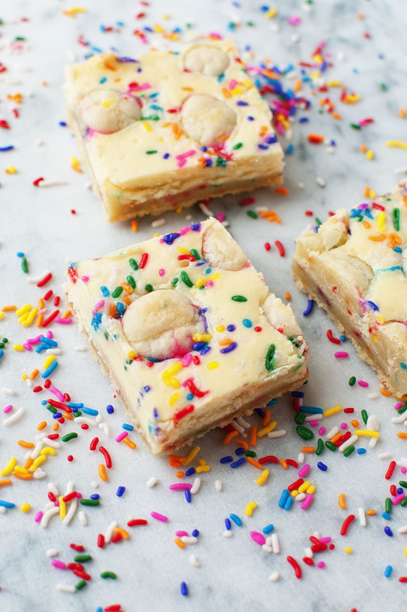 Sprinkled Sugar Cookie Cheesecake Bars 2
