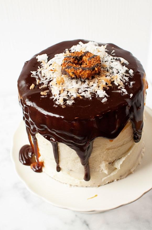 Overhead shot of Samoa Mascarpone Layer Cake