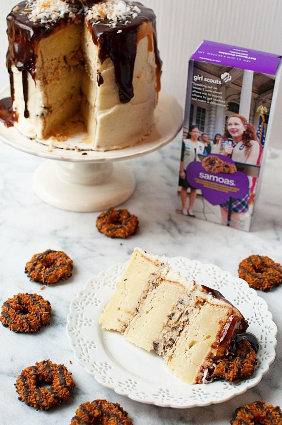 Samoa Mascarpone Layer Cake with box of cookies