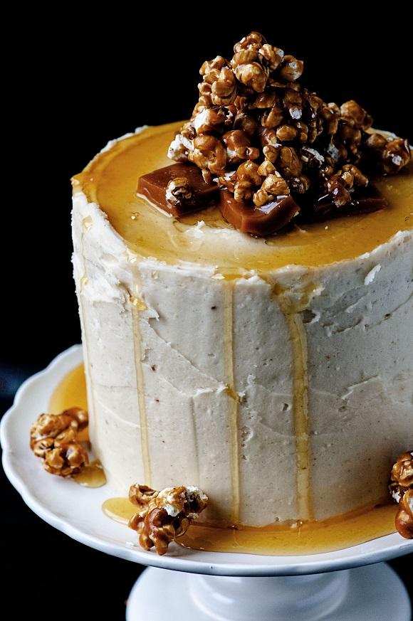 Caramel Corn Caramel Layer Cake side view.
