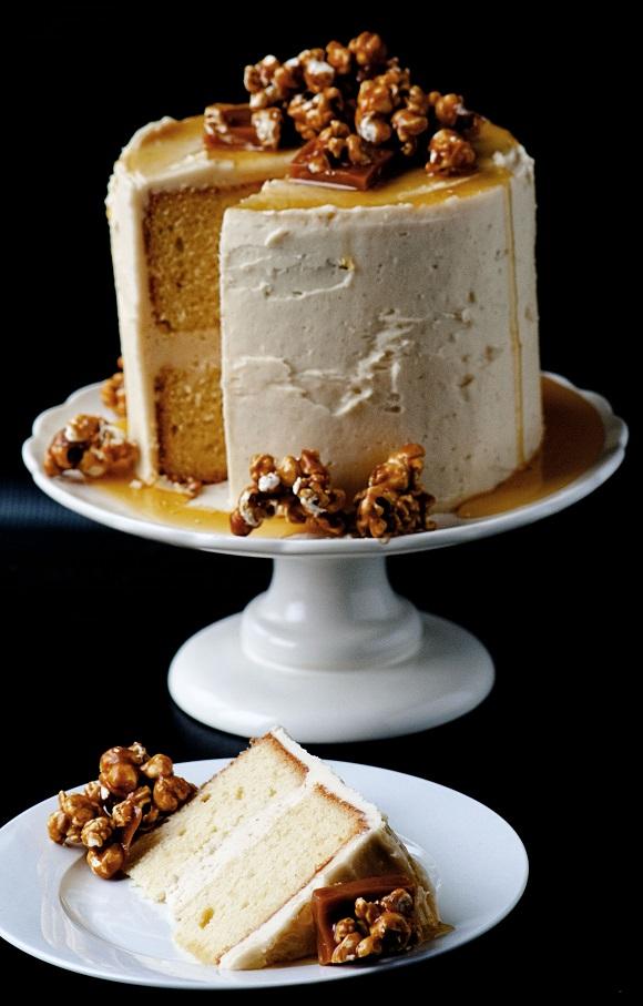 Caramel Corn Caramel Layer Cake with piece cut out.