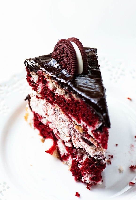 Slice of Red Velvet Marble Cake with Red Velvet Oreo Cream Cheese Bavarian Filling