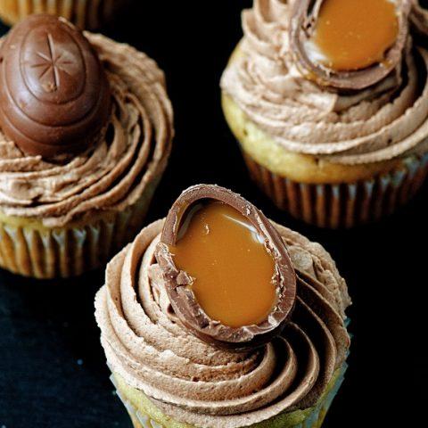 Cadbury Caramel Egg Banana Cupcakes