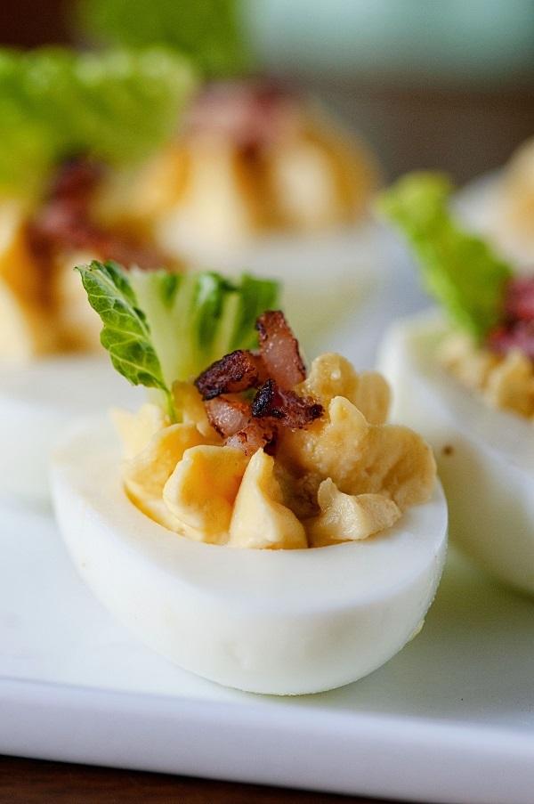 Bacon Caesar Salad Deviled Eggs