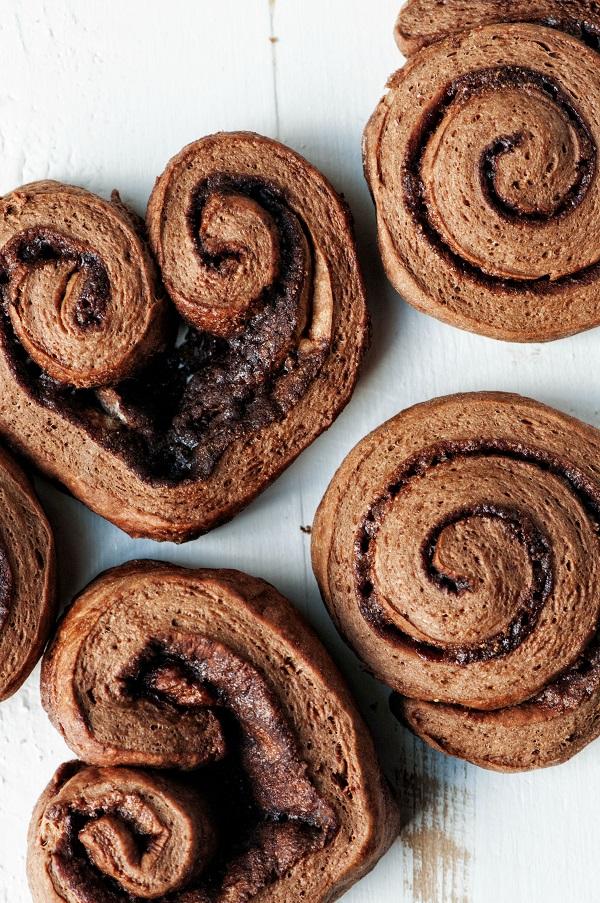 Chocolate-Cinnamon Cinnamon Rolls before glaze.