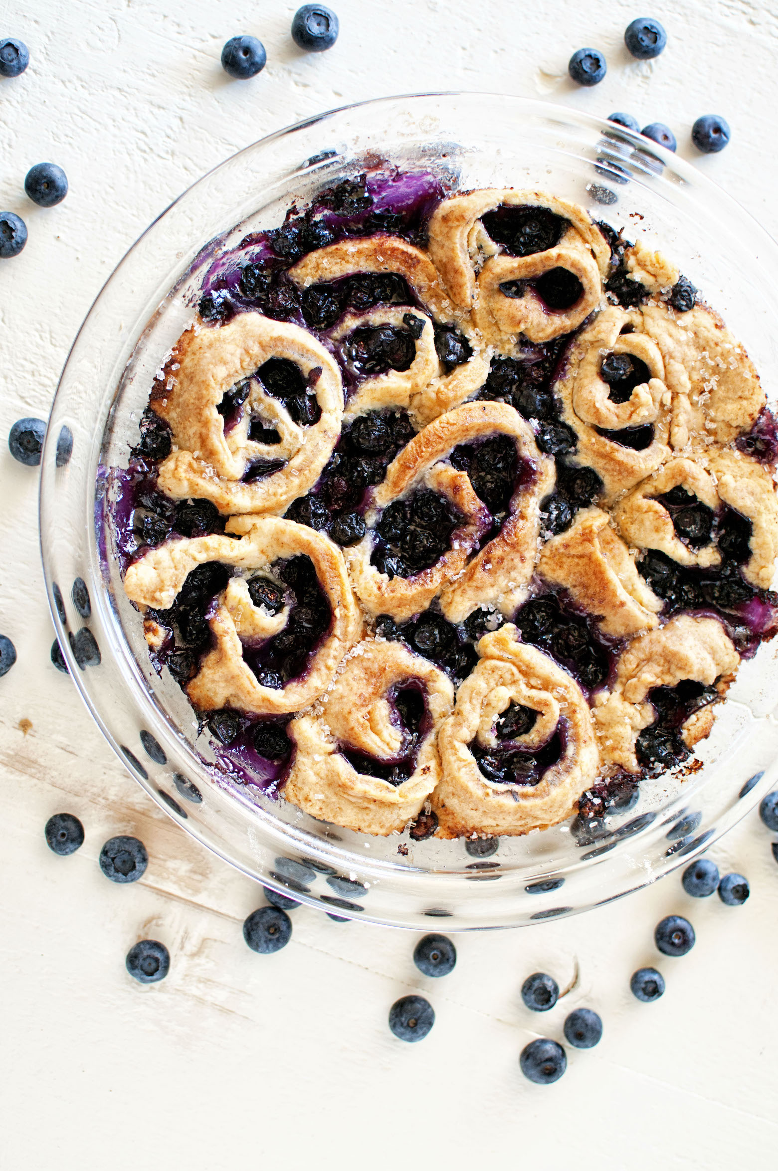Overhead view of whole Blueberry Limoncello Cobbler