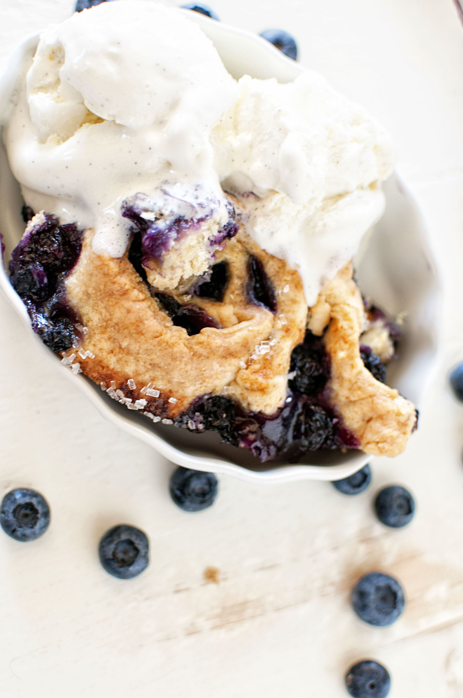 Individual portion of Blueberry Limoncello Cobbler