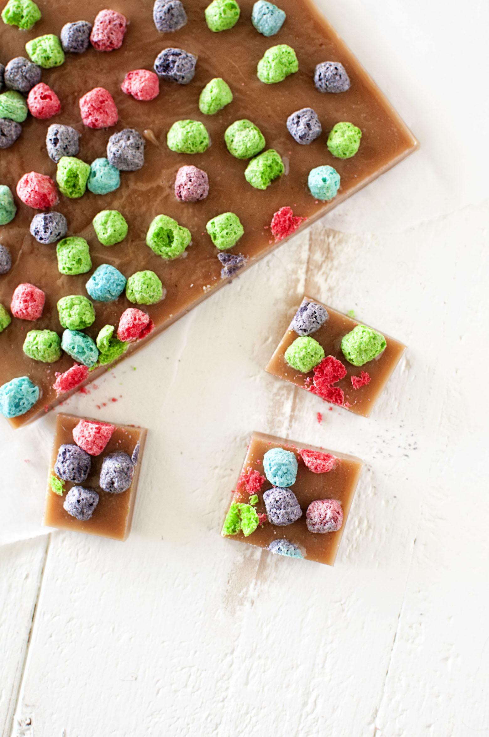 Overhead shot of Crunch Berry Caramels