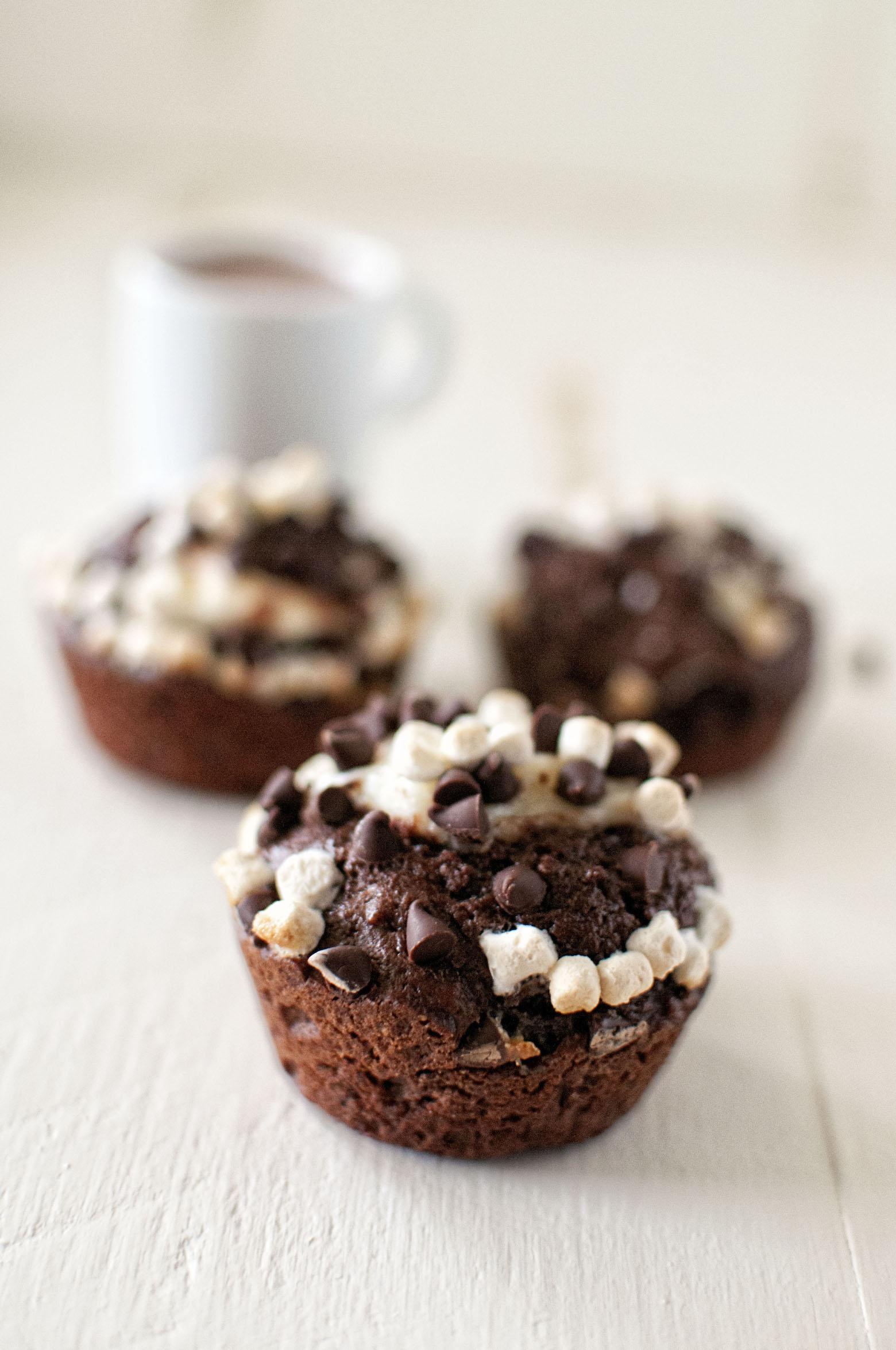 Hot Chocolate Marshmallow Cream Cheese Muffins