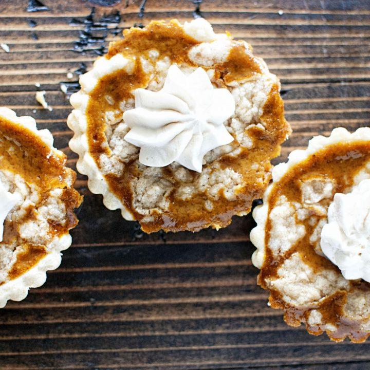 Pumpkin Bourbon Tart with Brown Butter Crumb Topping