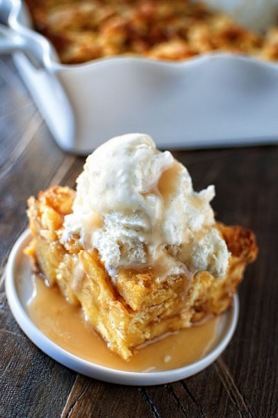Eggnog Bread Pudding with Spiced Rum Caramel Sauce