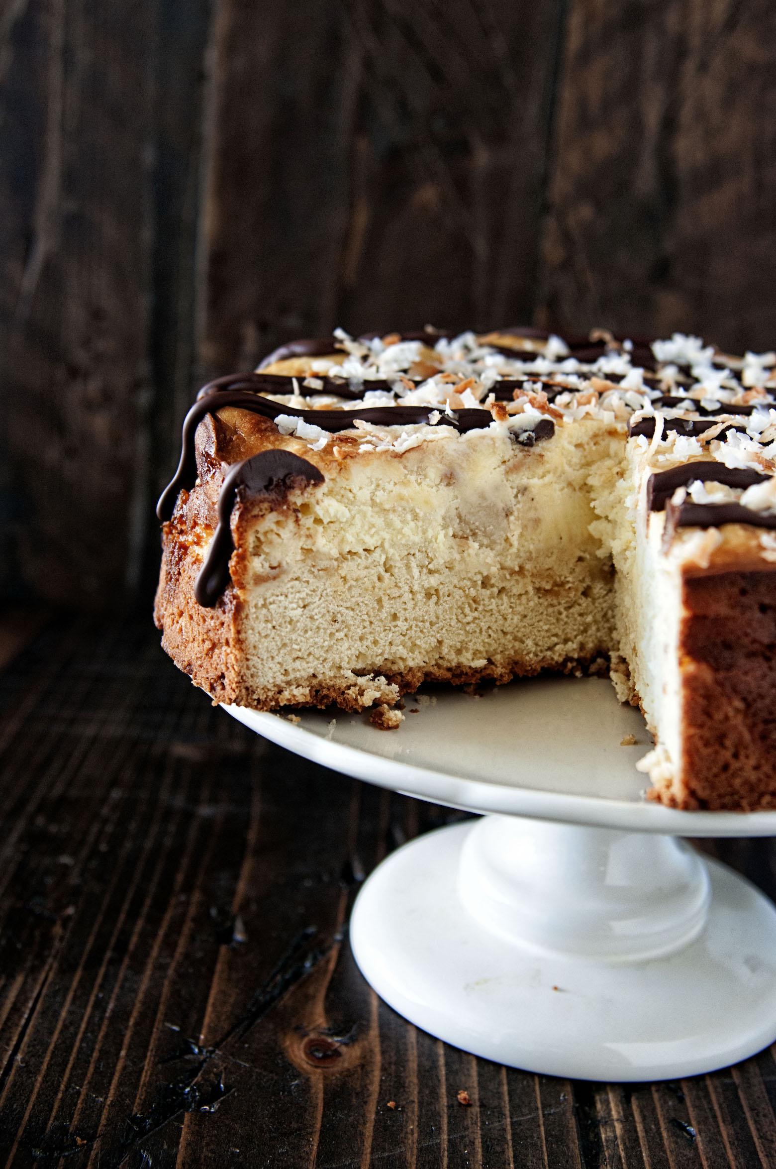Open view of Samoas Cheesecake Coffee Cake