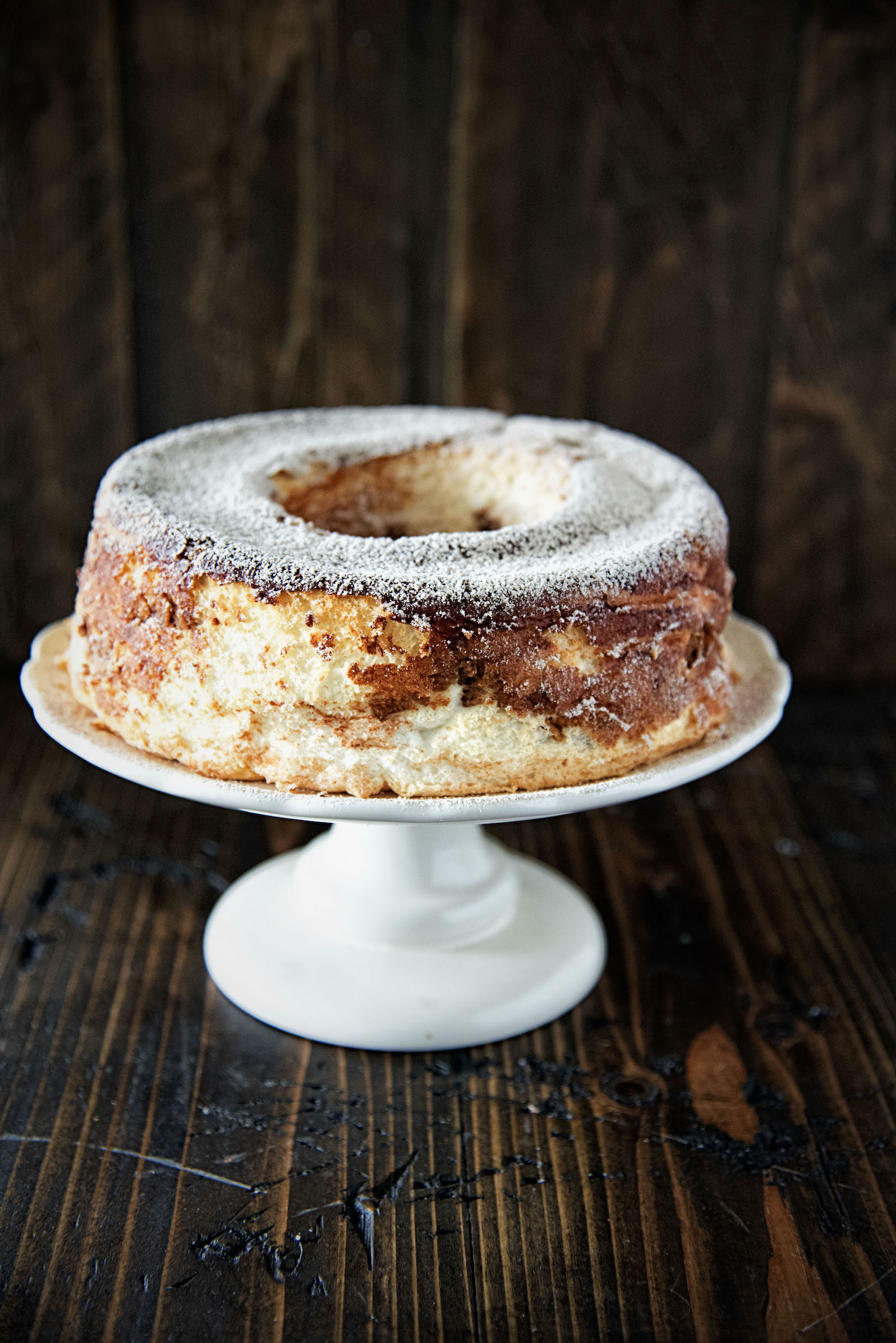 Side view Snickerdoodle Angel Food Cake