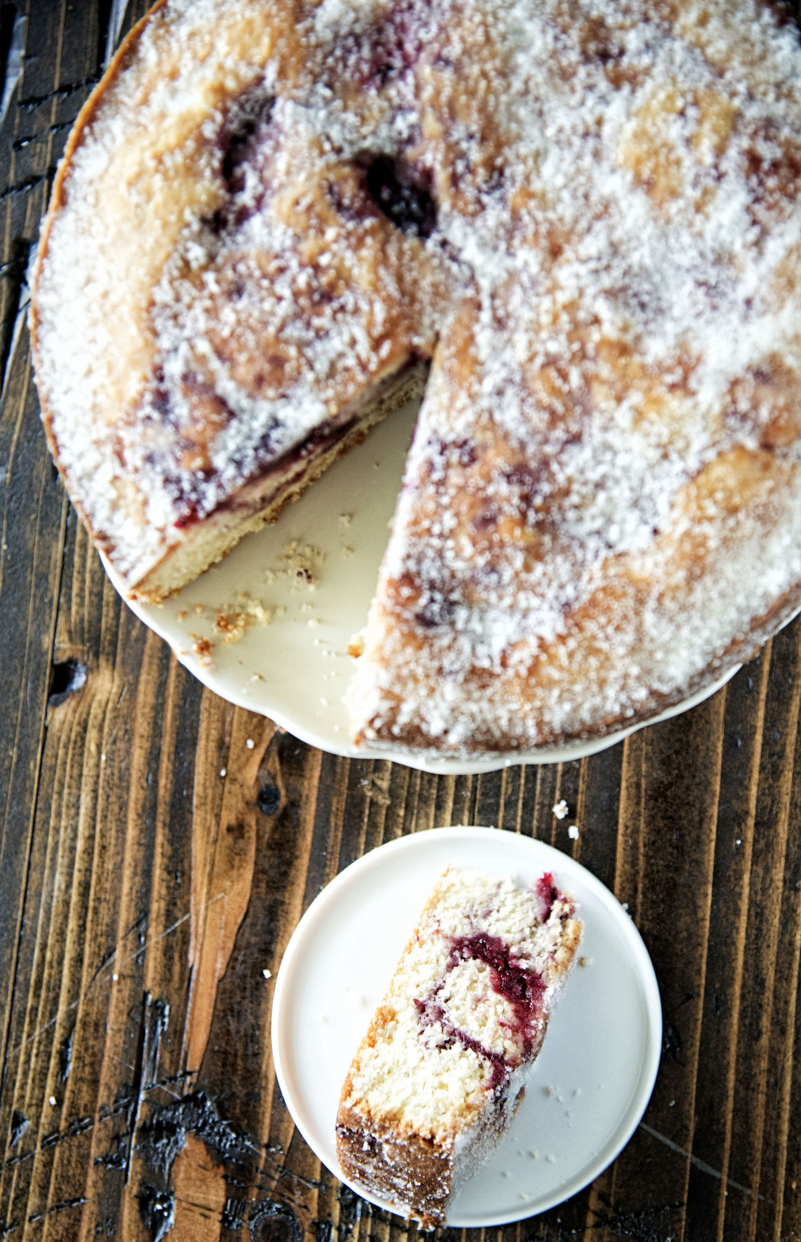 Sweet Corn and Berry Sugared Donut Cake
