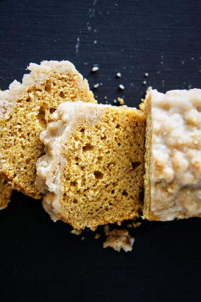 Bourbon Glazed Brown Butter Crumb Topped Pumpkin Cake