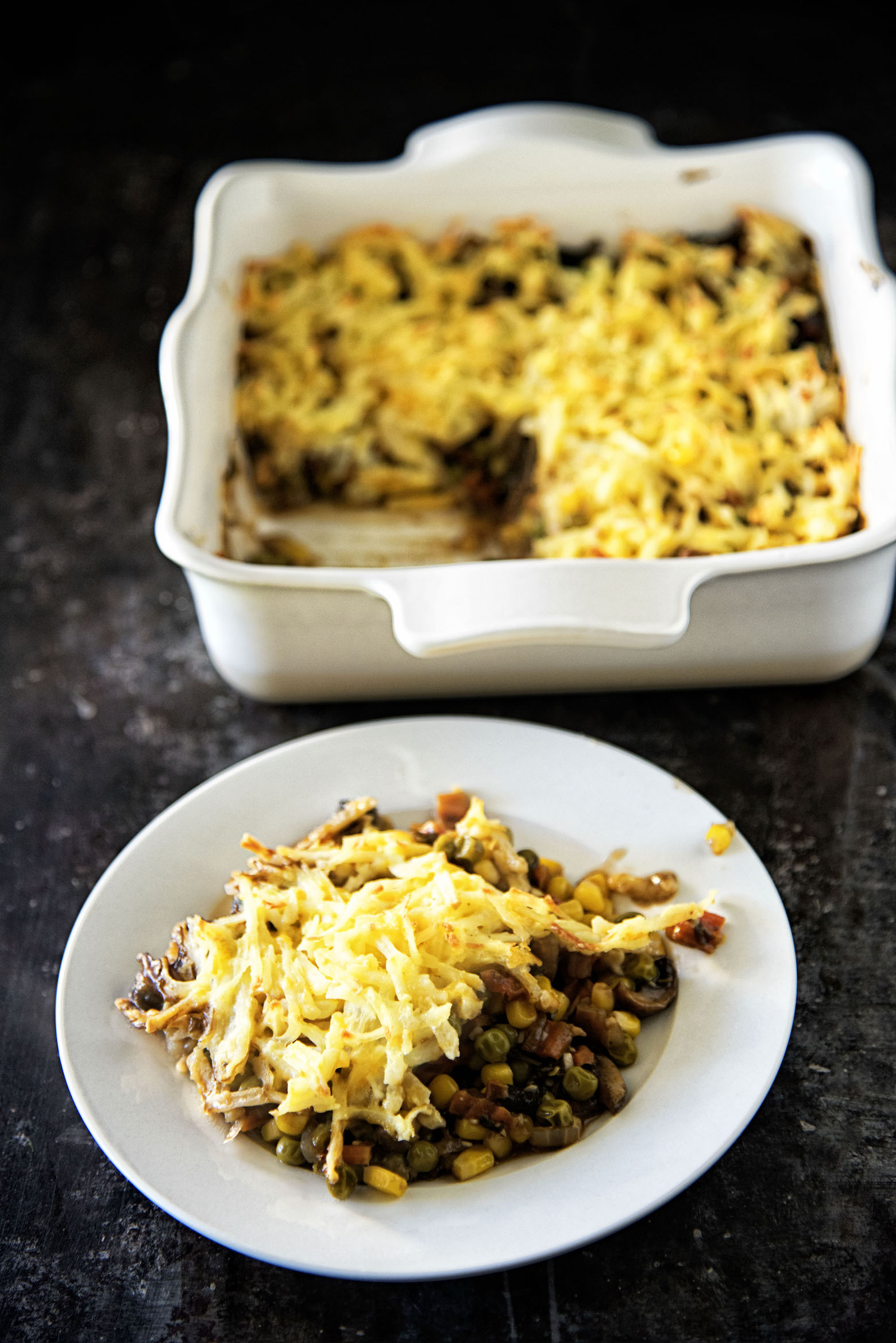 Chessy Hash Brown Topped Vegetarian Shepherds Pie