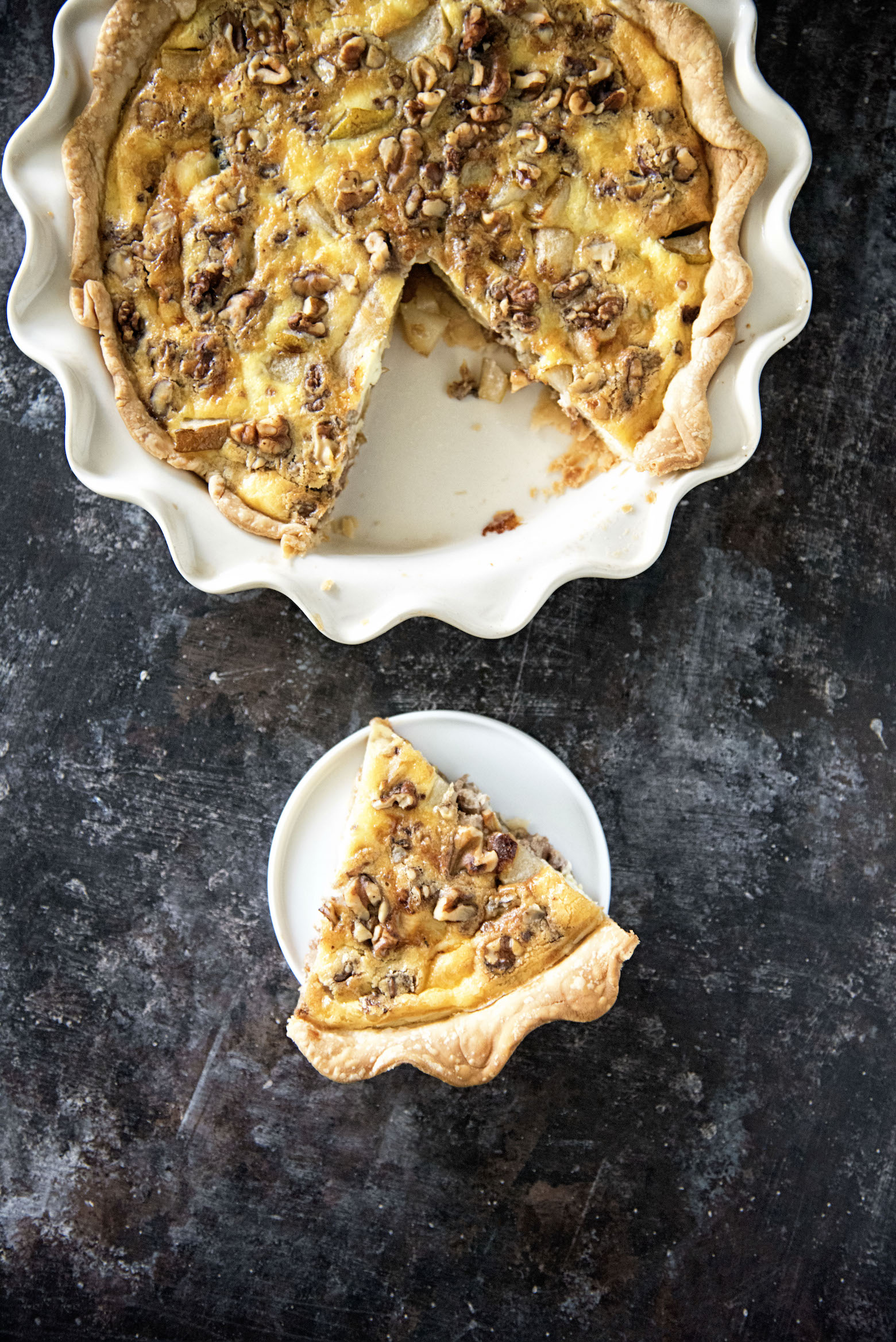Vegetarian Pear Walnut Oregon Blue Cheese Quiche