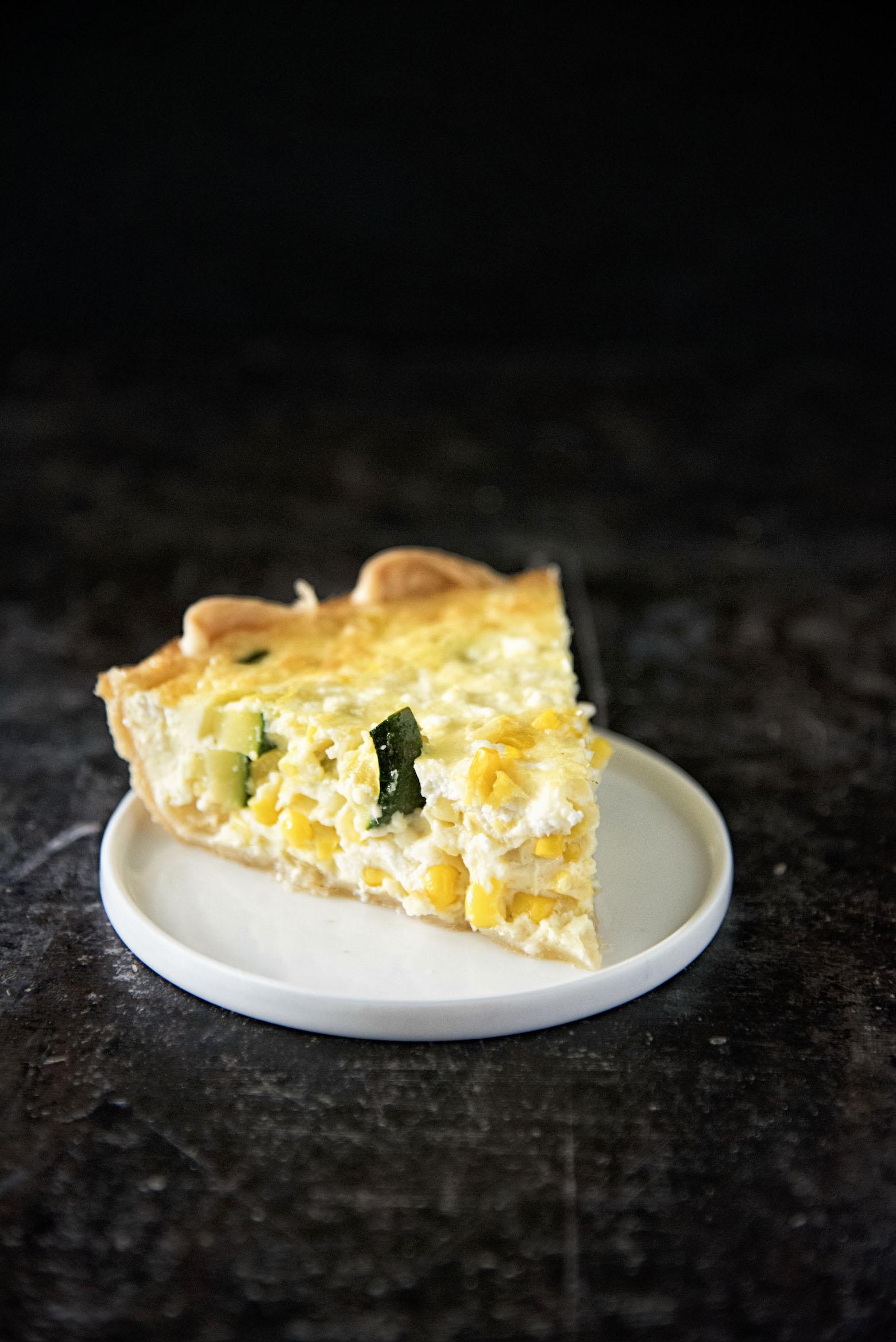 Vegetarian Zucchini Corn Feta Quiche