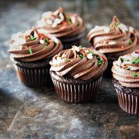 Chocolate Bourbon Eggnog Cupcakes