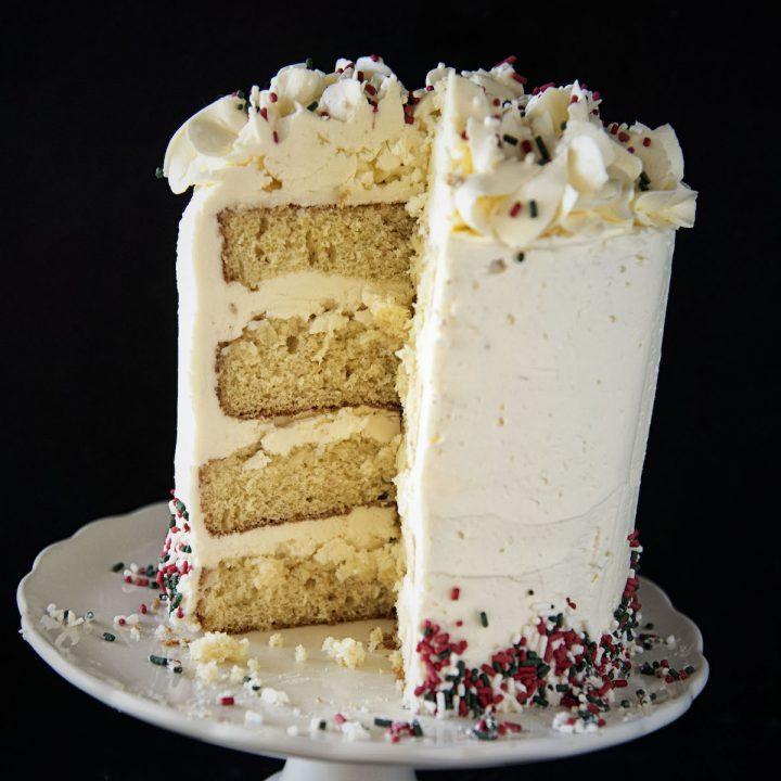 Eggnog Spiced Rum Layer Cake