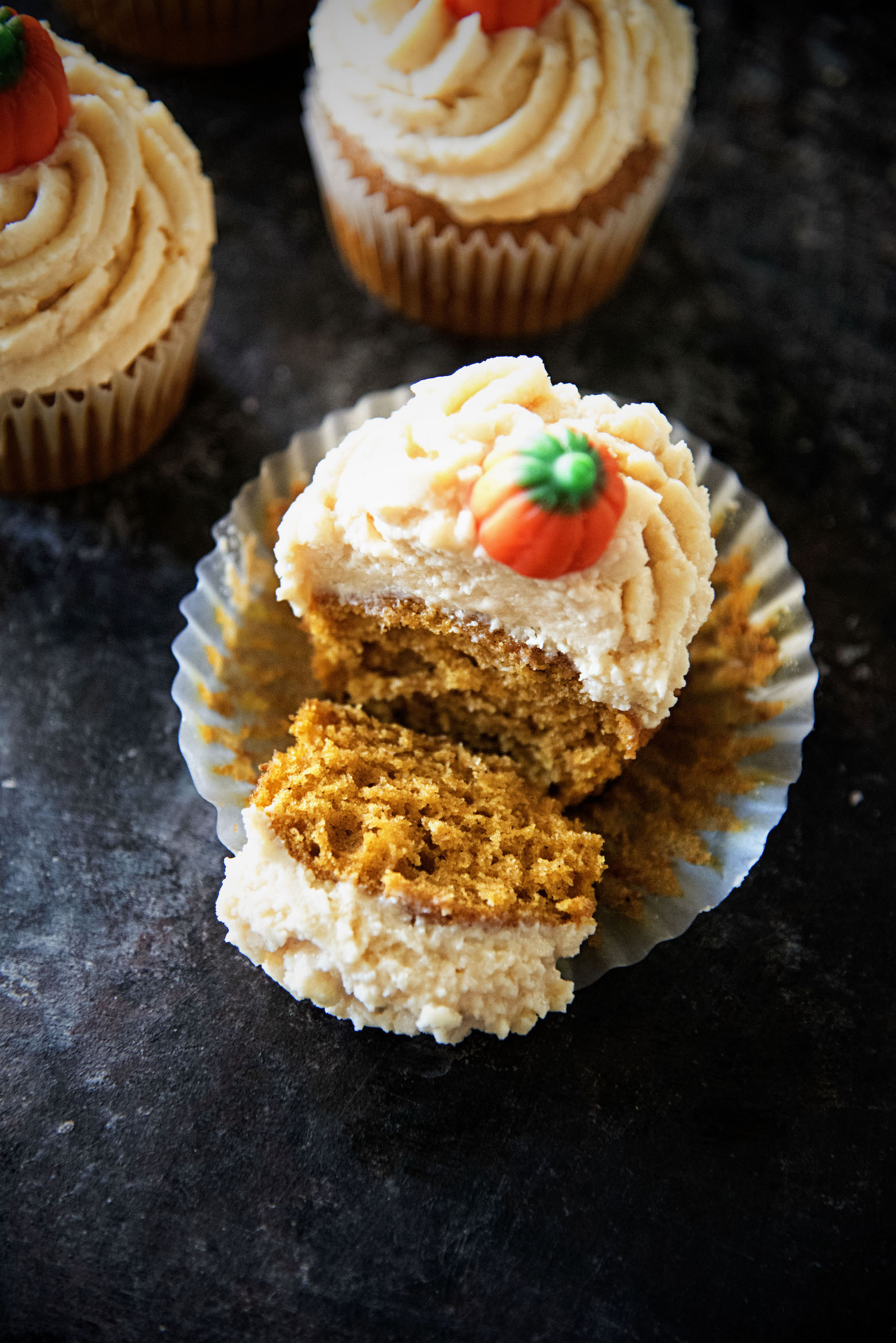 Salted Caramel Frosted Pumpkin Cupcakes