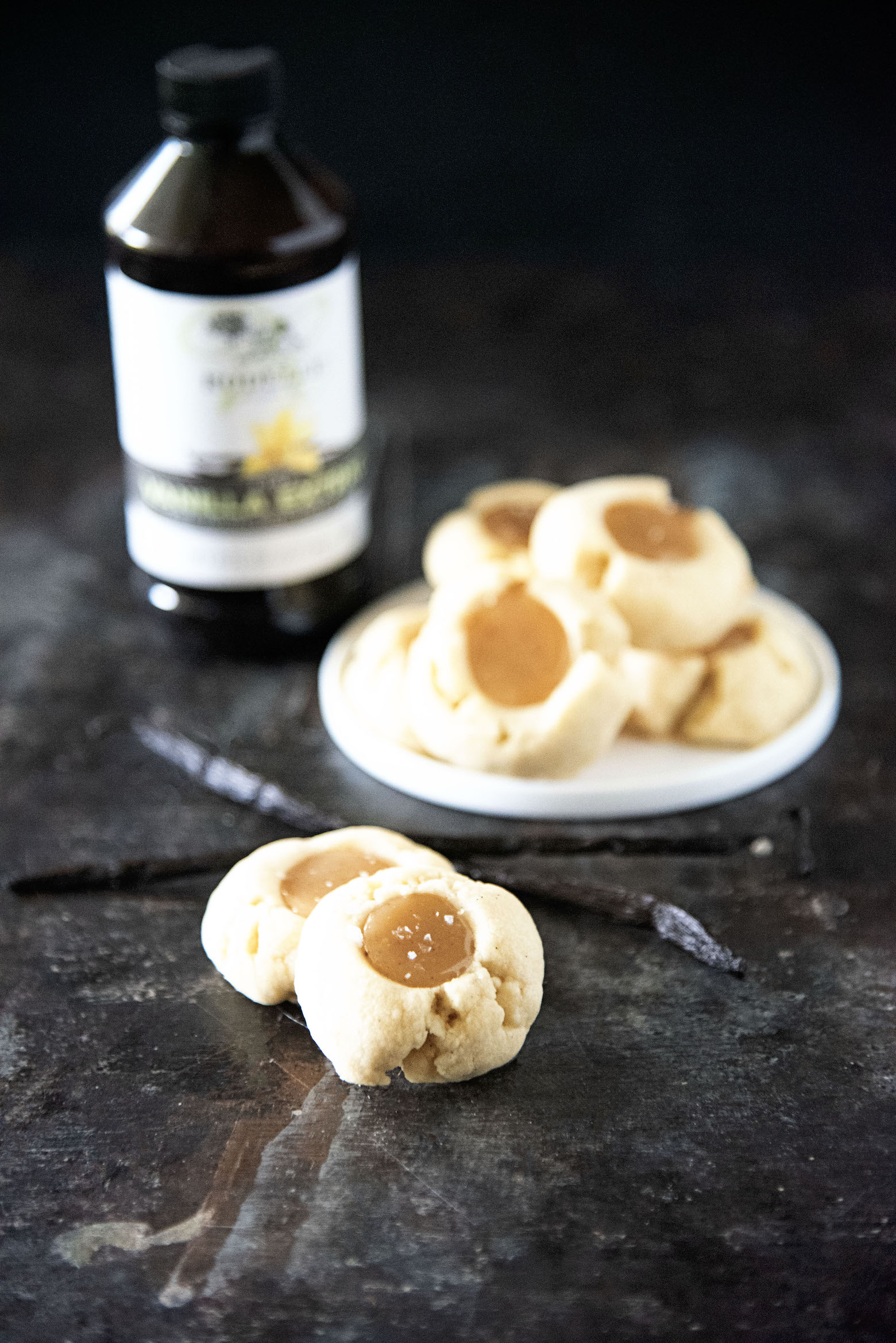 Vanilla Bean Caramel Thumbprint Cookies