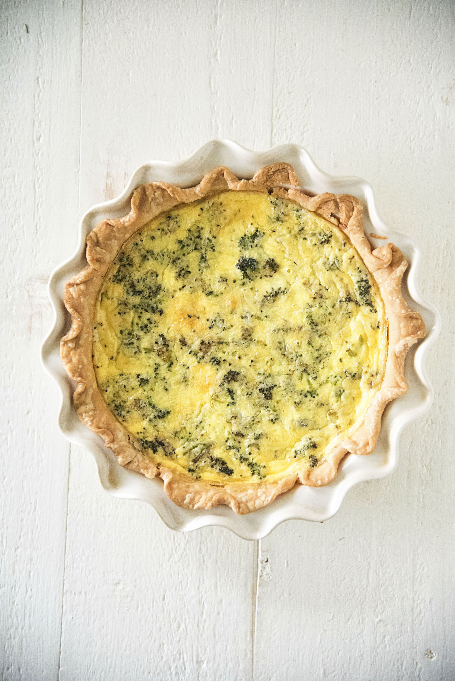 Vegetarian Roasted Broccoli Cheddar Quiche