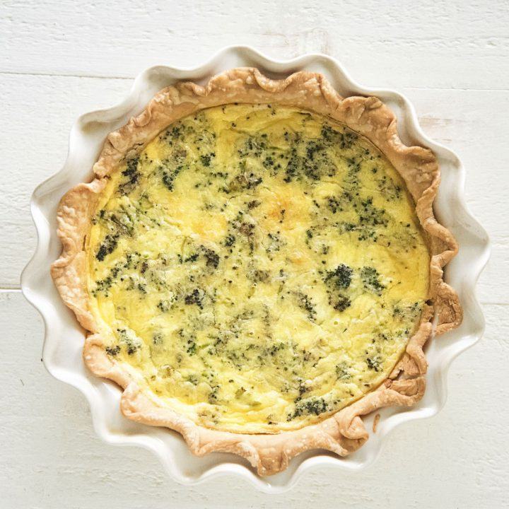 Vegetarian Roasted Broccoli Cheddar Quiche