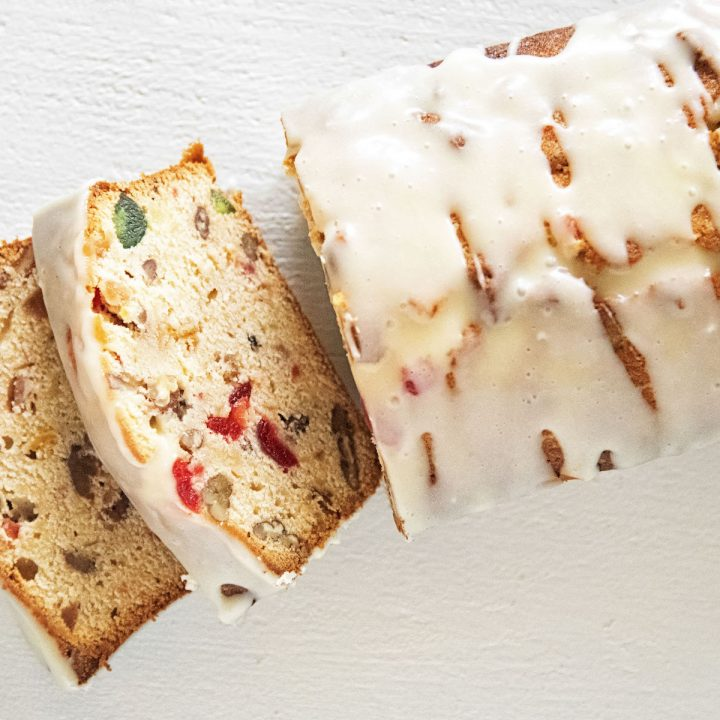 Bourbon Soaked Eggnog Fruitcake Pound Cake
