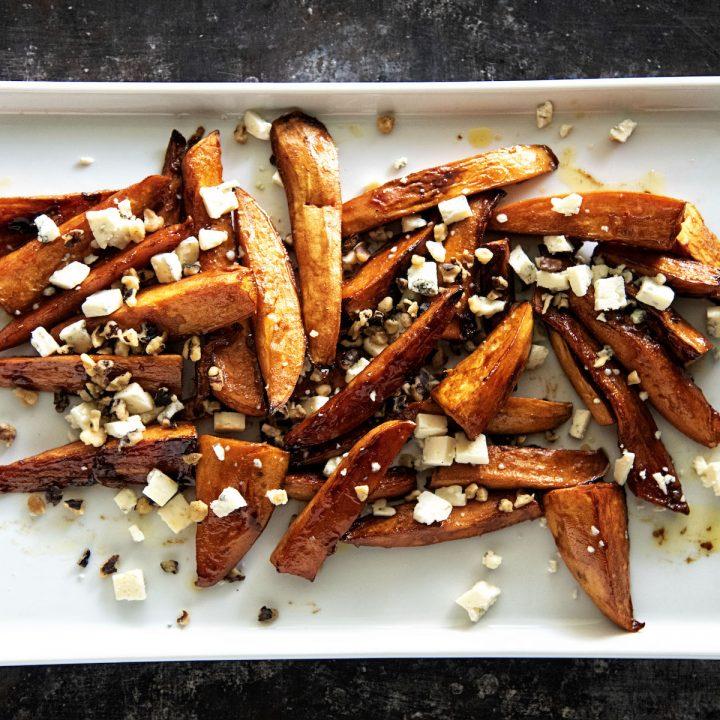 Brown Sugar Balsamic Roasted Sweet Potatoes