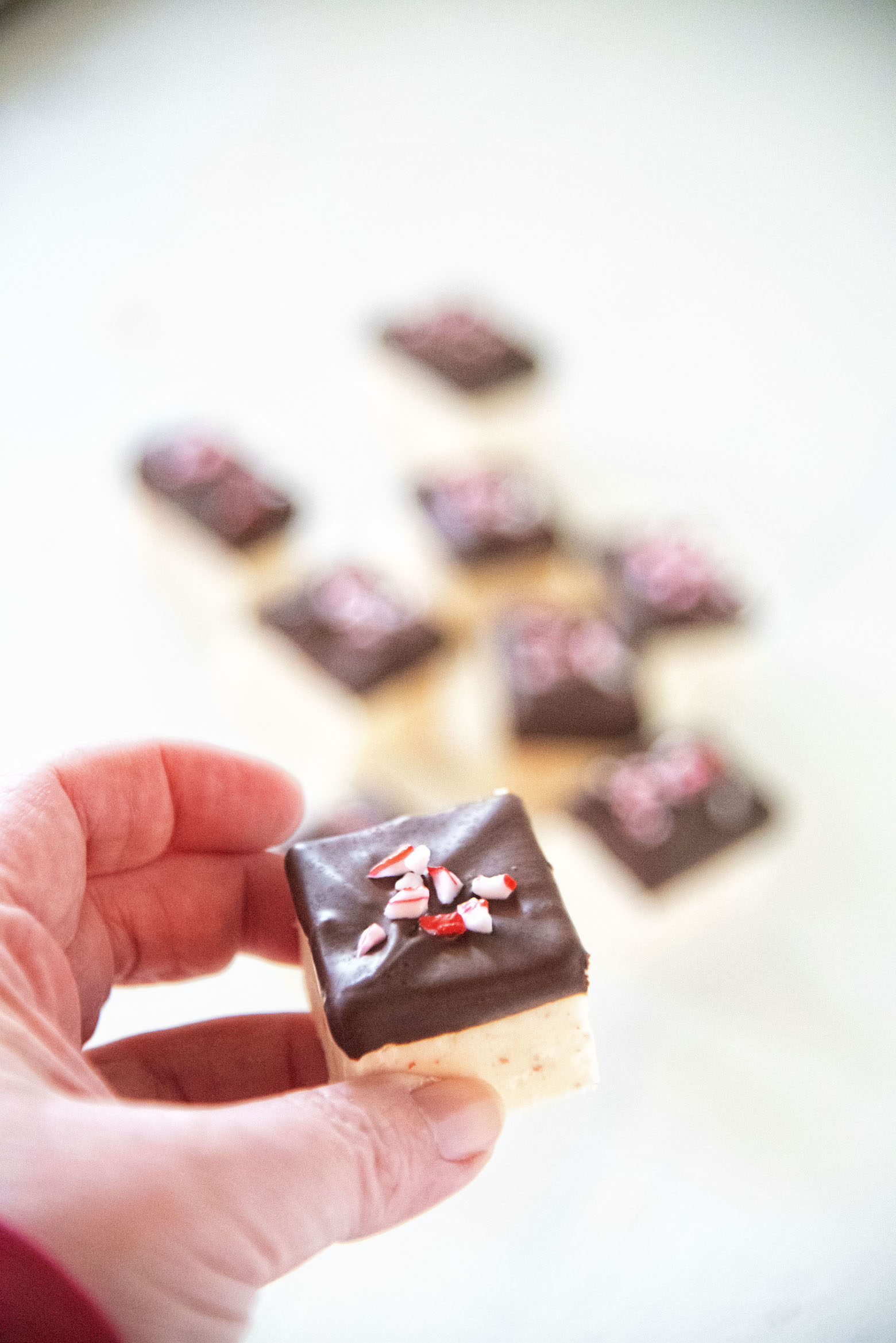 Chocolate Dipped Candy Cane Fudge