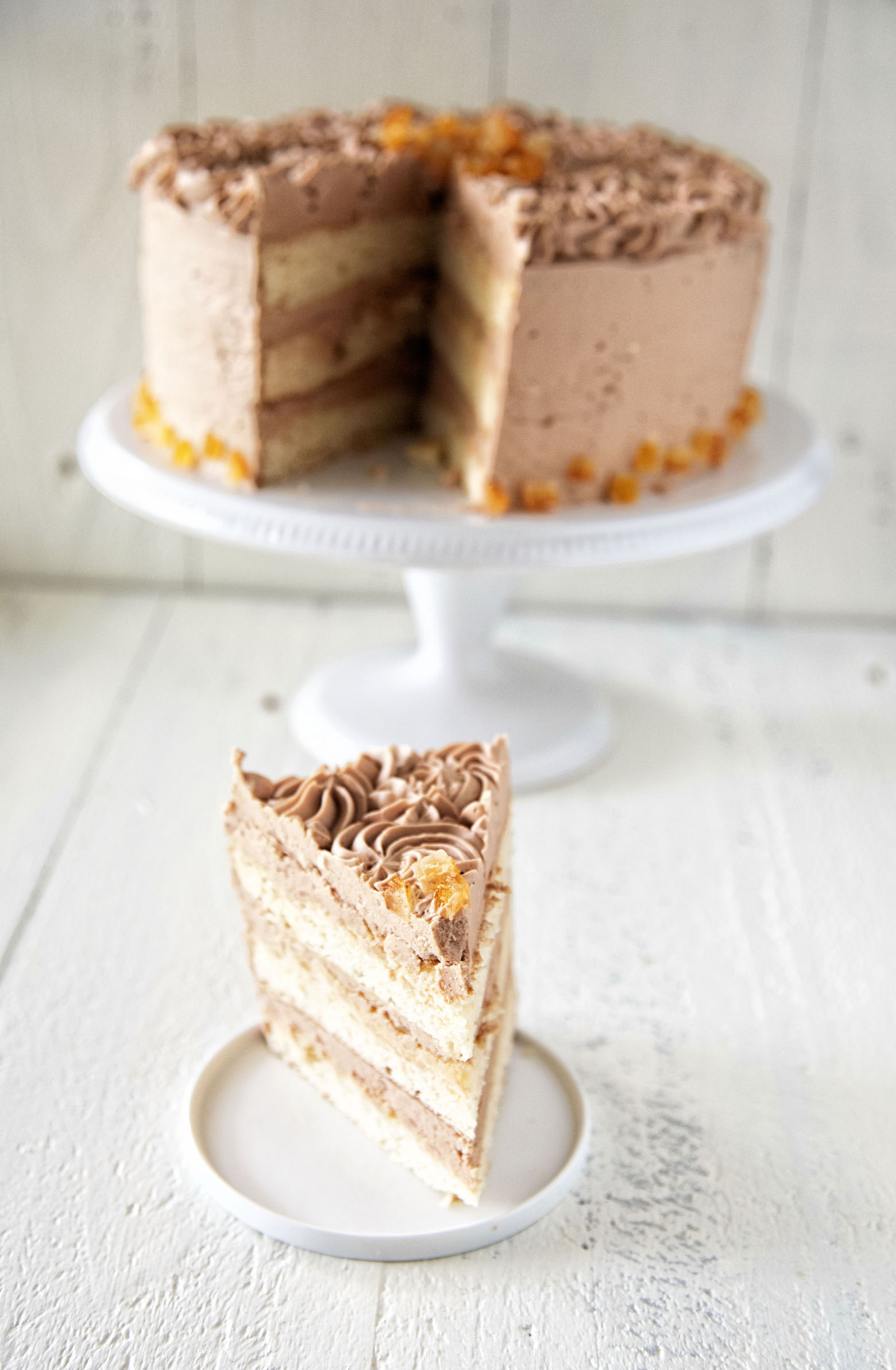 Chocolate Orange Frosted Vanilla Malted Cake