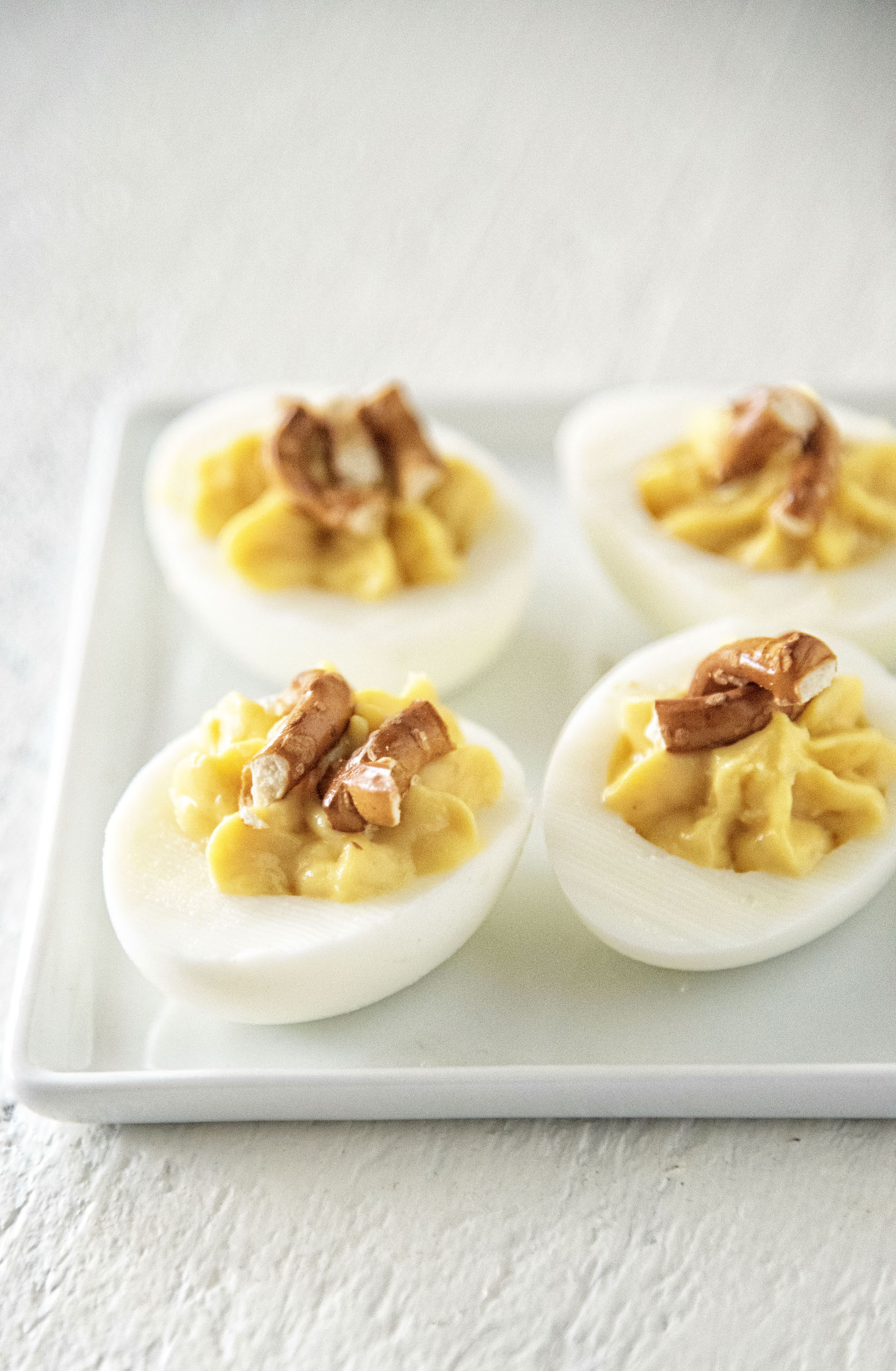 Honey Mustard Pretzel Deviled Eggs