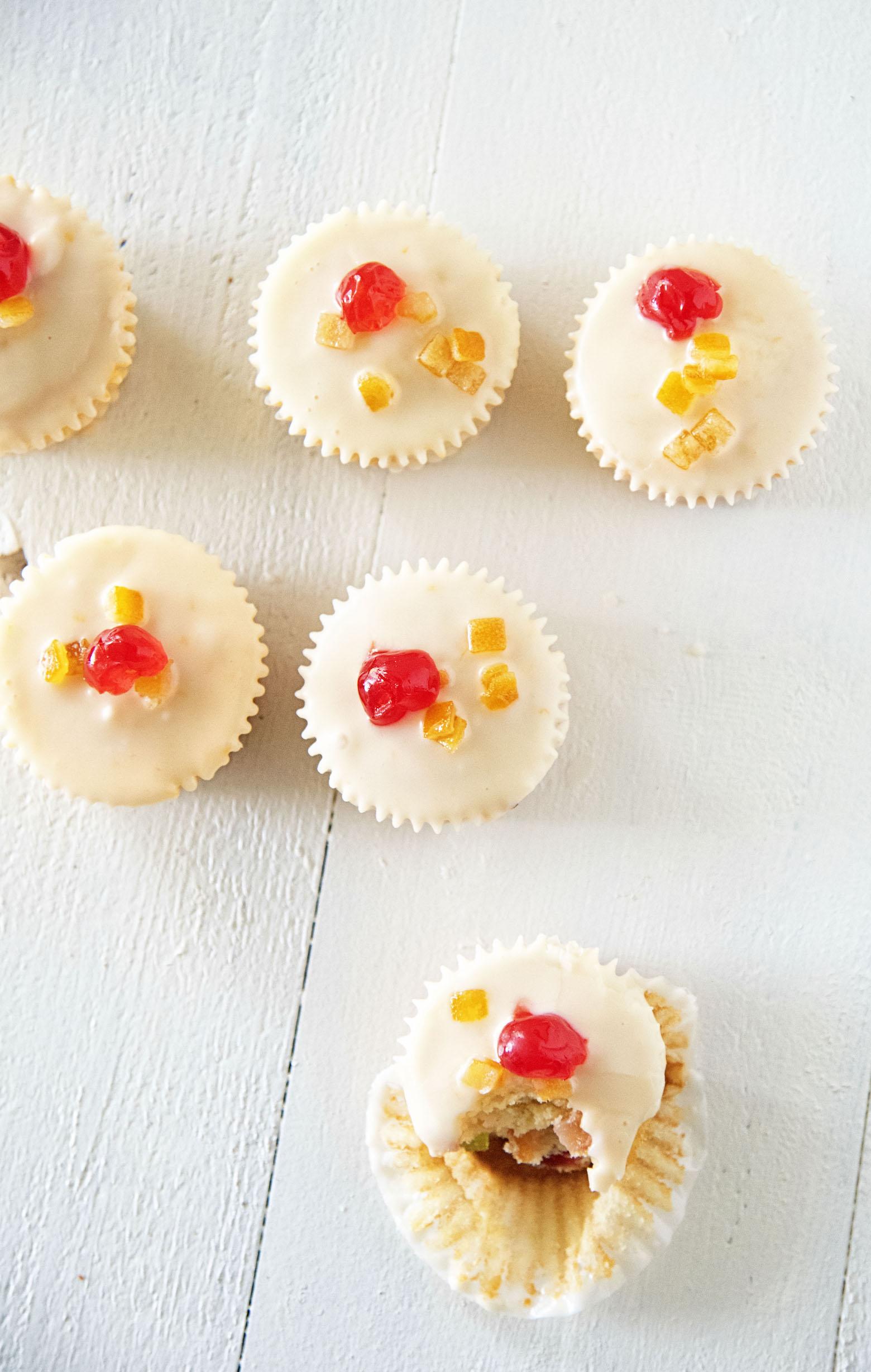 Orange Glazed Bourbon Soaked Fruitcake Cupcakes