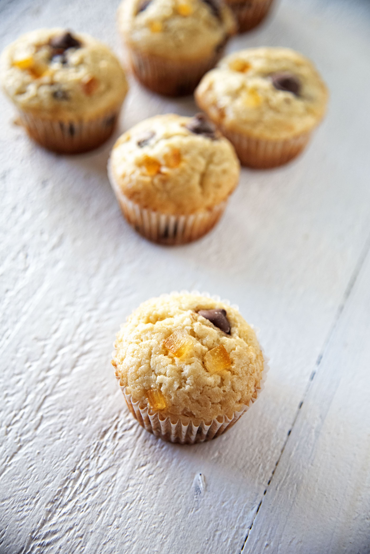 Chocolate Candied Orange Peel Sour Cream Muffins
