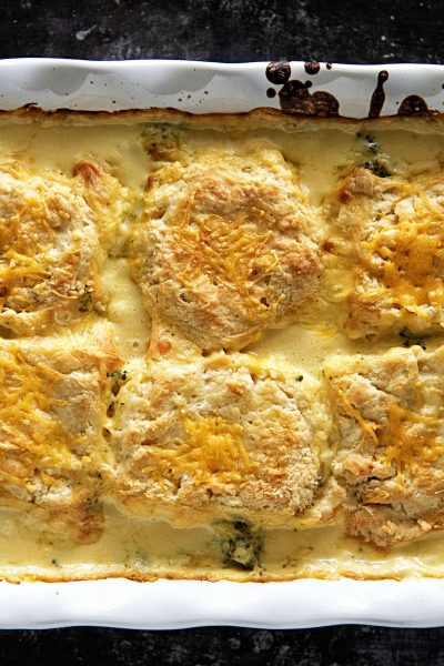 Broccoli Cheese Biscuit Cobbler