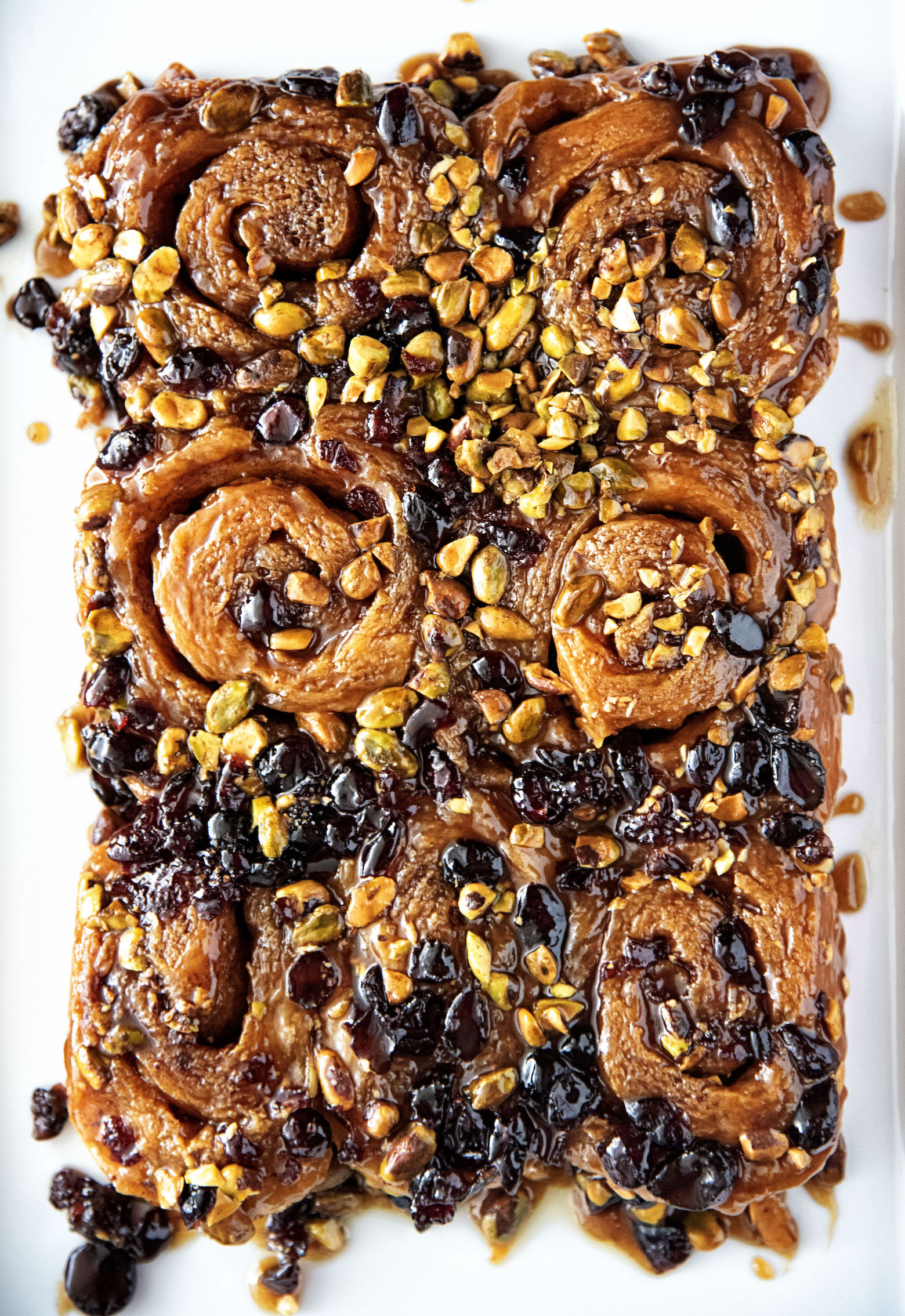 Orange Blossom Honey Pistachio Cranberry Sticky Buns