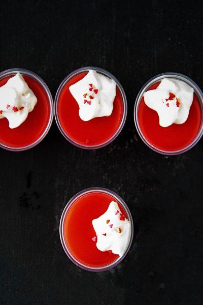 Strawberry Malted Milk Jell-O Shots