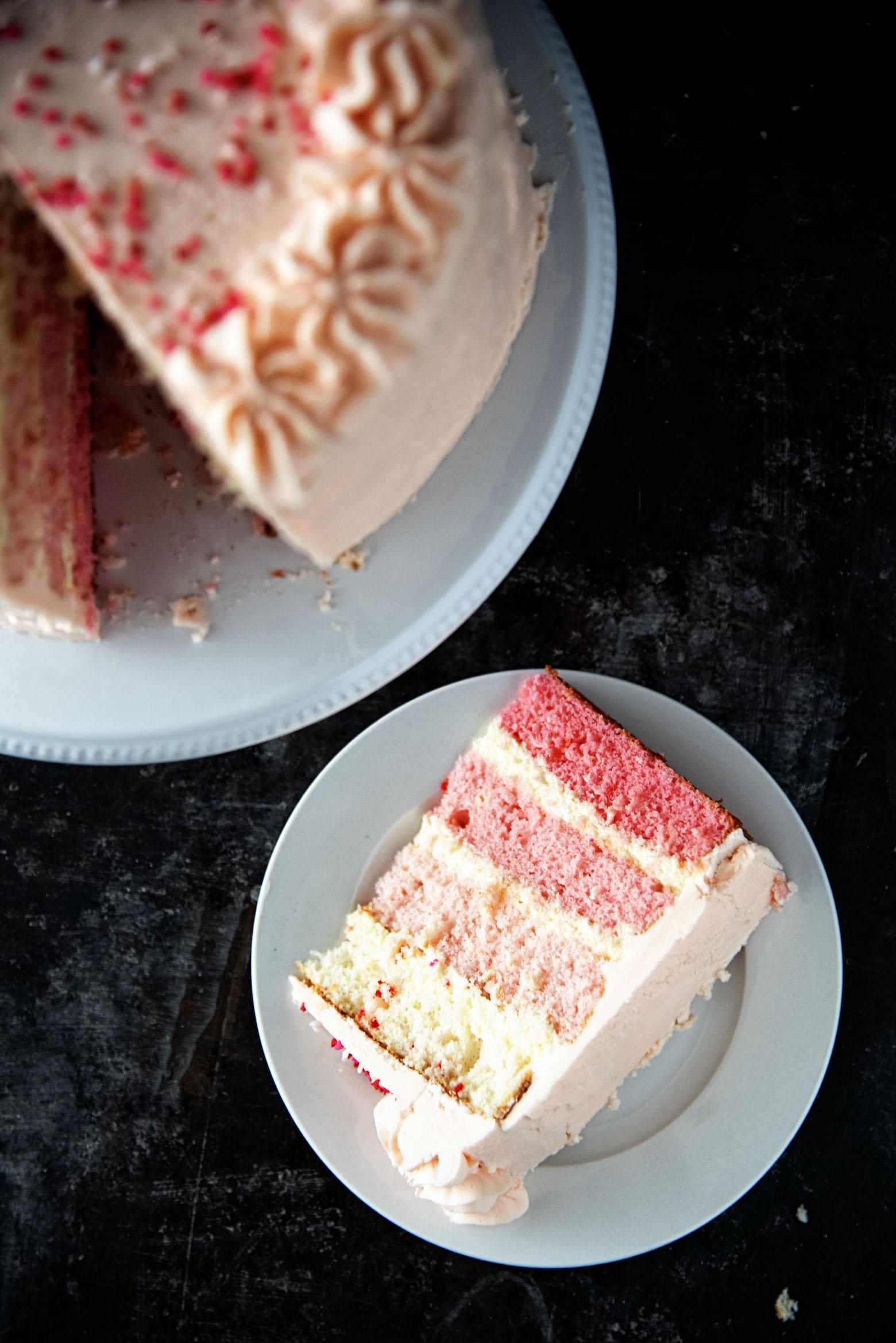 Vanilla Cheesecake Funfetti Pink Ombre Layer Cake