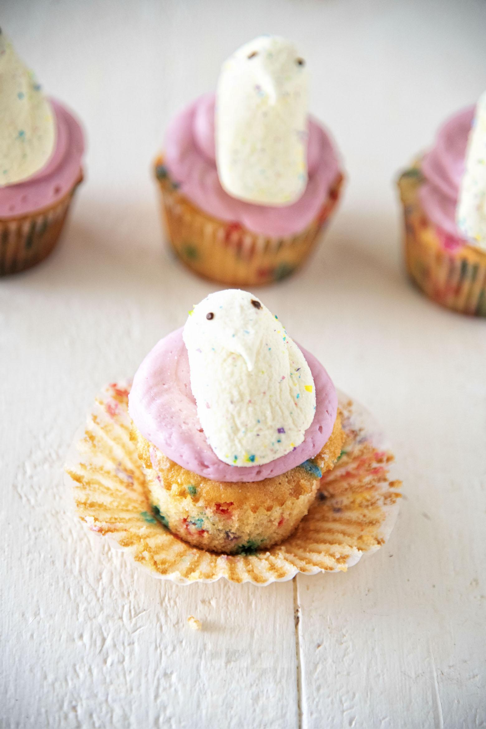 Confetti Vanilla Marshmallow Peep Cupcakes