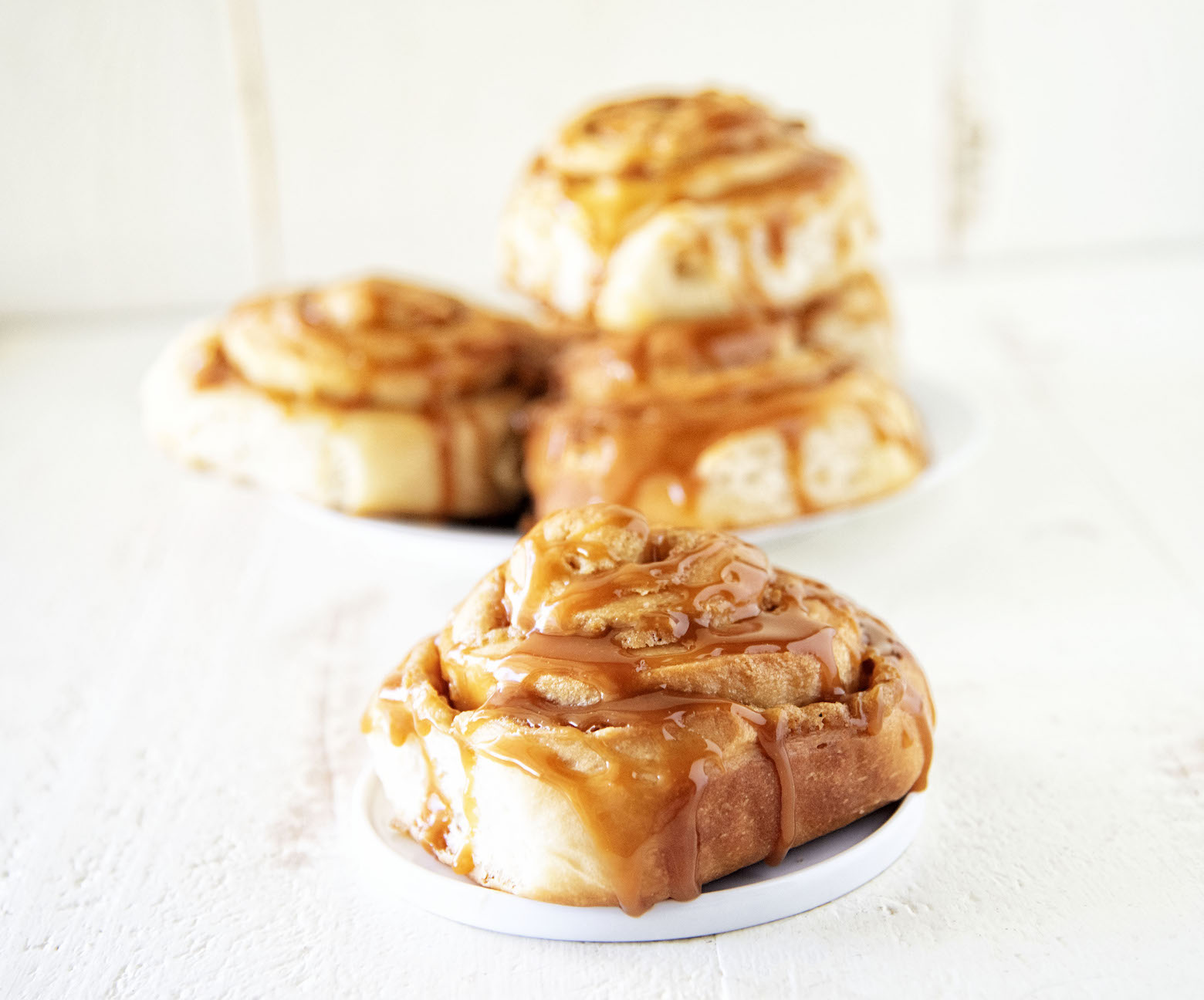 Bourbon Brown Sugar Caramel Peach Sweet Rolls