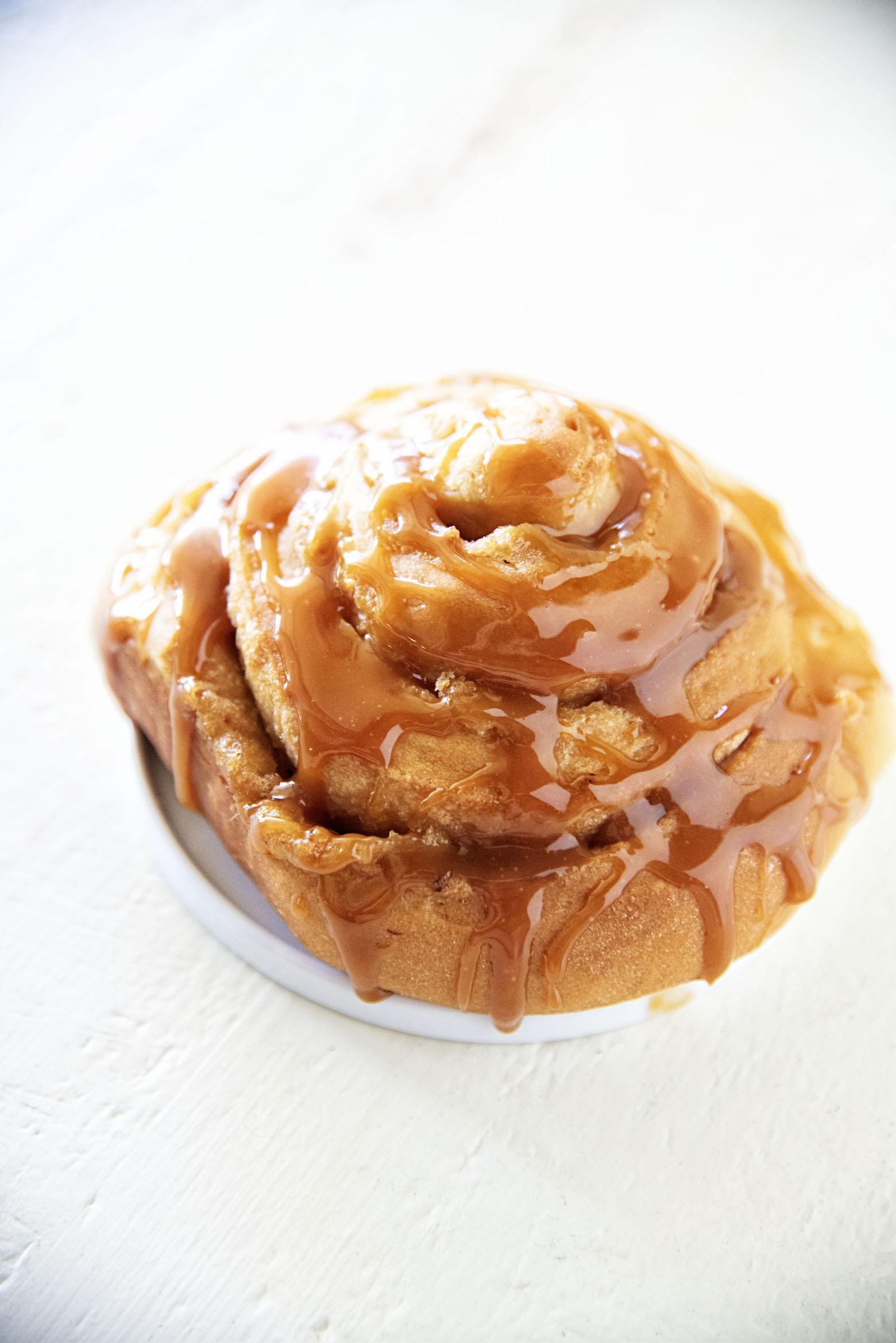 Bourbon Brown Sugar Caramel Peach Sweet Rolls