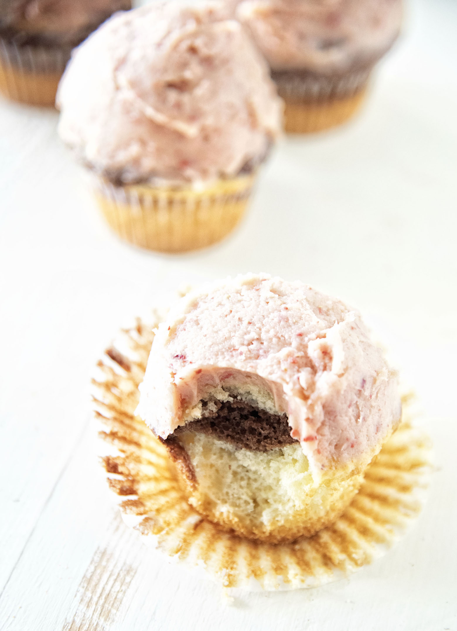 Strawberry Buttercream Neapolitan Cupcakes