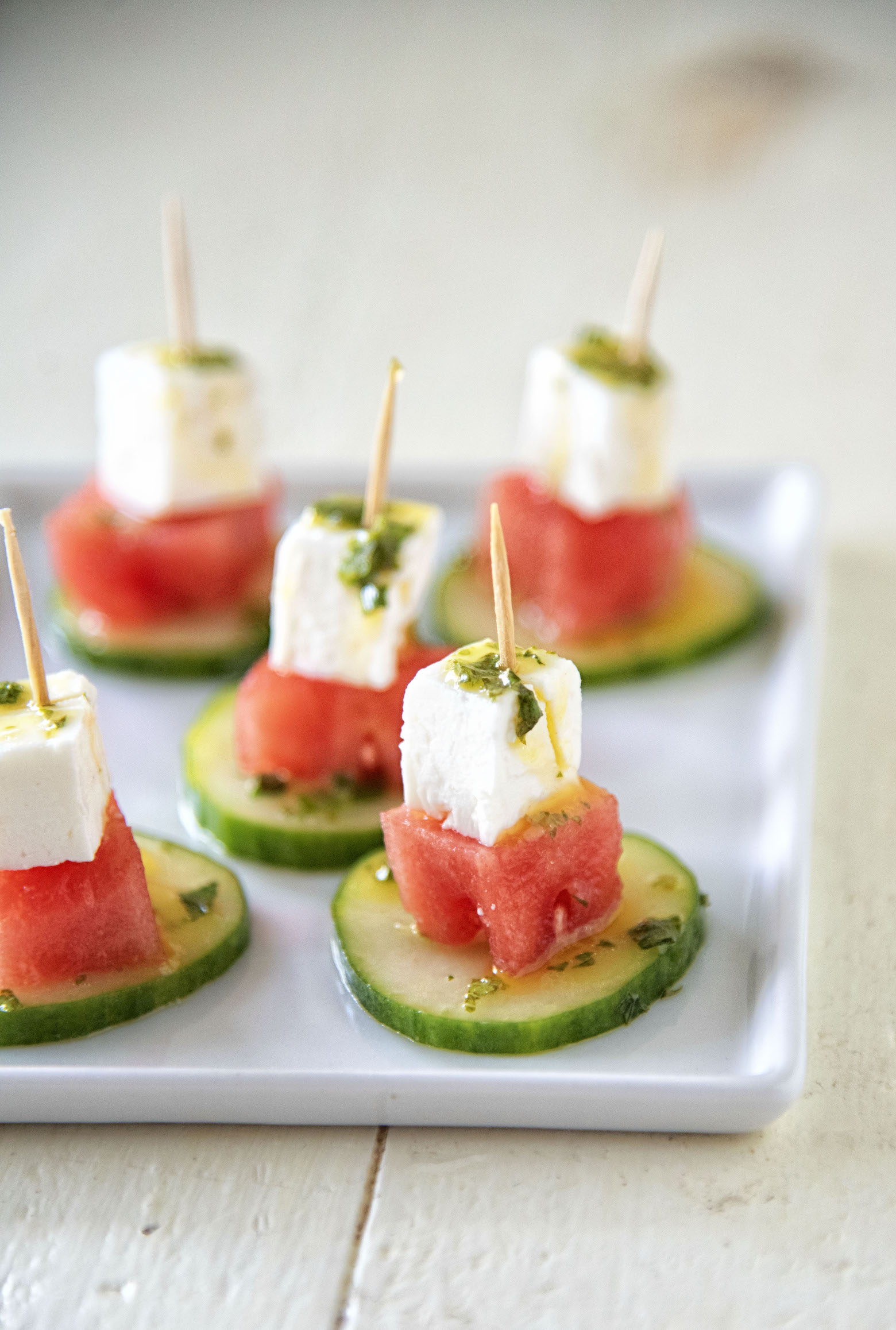 Cucumber Watermelon Feta Mint Bites